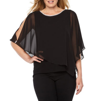 MSK 3/4 Sleeve Round Neck Embellished Blouse