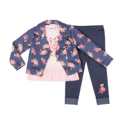 Little Lass 3-pc.Faux Suede Jacket Legging Set-Baby Girls