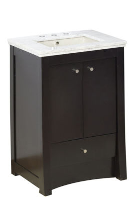 23.75-in. W Floor Mount Distressed Antique WalnutVanity Set For 3H8-in. Drilling Bianca Carara TopBiscuit UM Sink