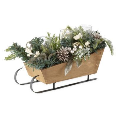 North Pole Trading Co. Floral Sleigh Centerpiece Tabletop Decor