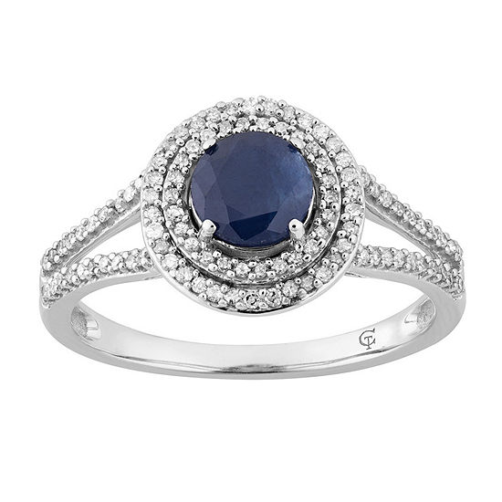 Womens 1/3 CT. T.W. Genuine Blue Sapphire 10K White Gold Cocktail Ring