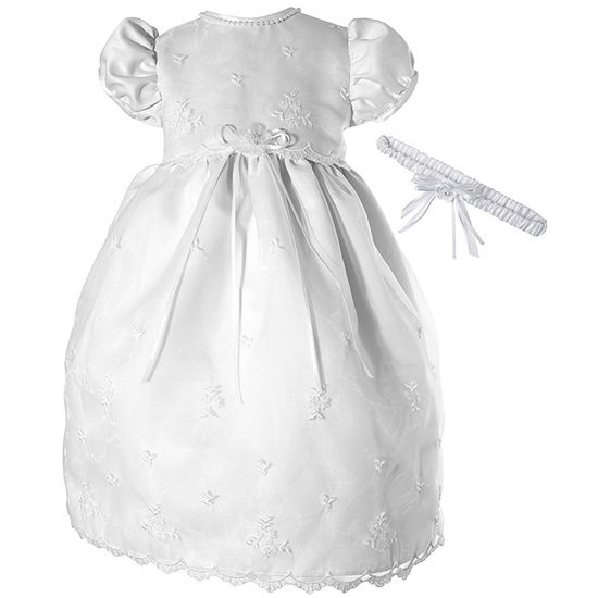 Keepsake Christening Baby Girls Short Sleeve Puffed Sleeve Babydoll Dress
