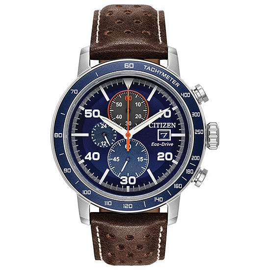 Citizen Brycen Mens Chronograph Brown Leather Strap Watch-Ca0648-09l