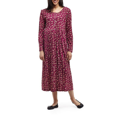 La Cera Long Sleeve Rayon Knit Empire Waist Dress