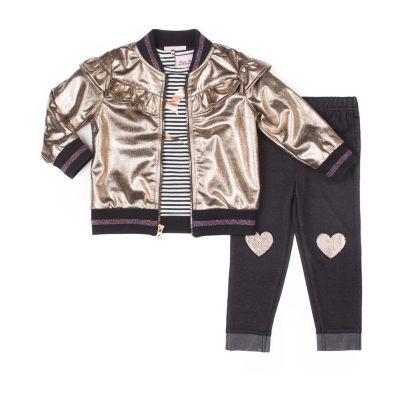 Little Lass 3-pc.Faux Leather Jacket Legging Set-Baby Girls