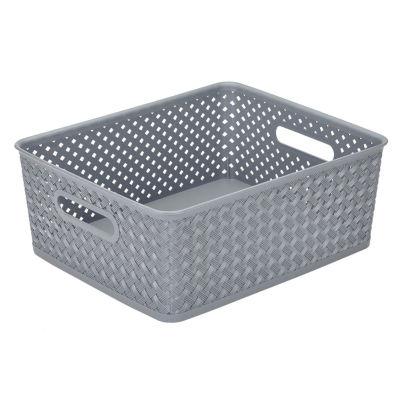 Resin Wicker Storage Tote -Grey- Medium 14 X11.5 X 5.15- Basket Weave