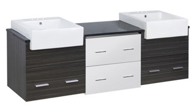 73.5-in. W Wall Mount White-Dawn Grey Vanity Set For 3H4-in. Drilling Black Galaxy Top