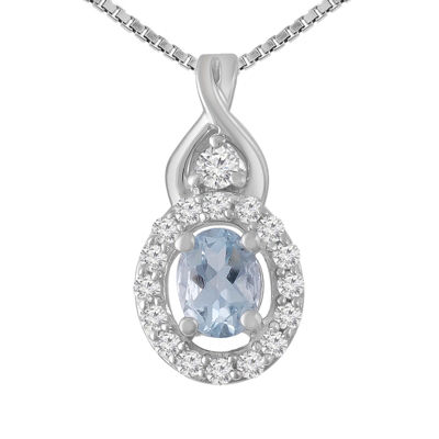 Womens Genuines Blue Aquamarine Sterling Silver Pendant Necklace