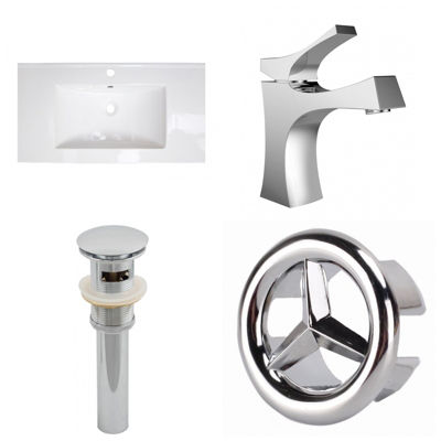 32-in. W 1 Hole Ceramic Top Set In White Color - CUPC Faucet Incl.  - Overflow Drain Incl.