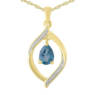 Womens Genuine Blue Topaz 10K Gold Over Silver Pendant Necklace