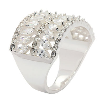 Sparkle Allure Womens 1/2 CT. T.W. Lab Created Clear Pure Silver Over Brass Cocktail Ring