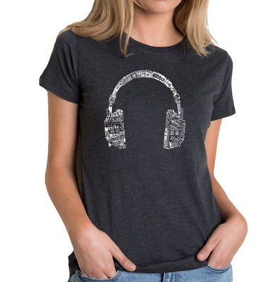 Los Angeles Pop Art Women's Premium Blend Word ArtT-shirt - HEADPHONES - LANGUAGES