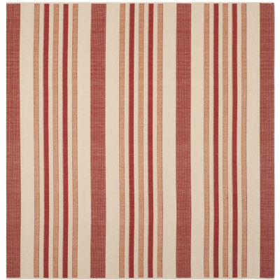 Safavieh Courtyard Collection Ercan Stripe Indoor/Outdoor Square Area Rug