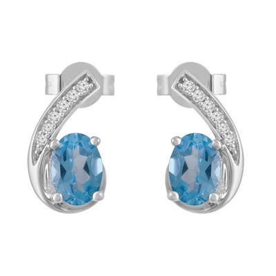 Genuine Blue Topaz 10K White Gold 14mm Stud Earrings