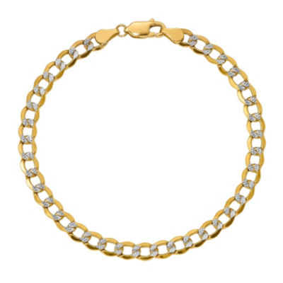 Womens 7 Inch 14K Gold Chain Bracelet