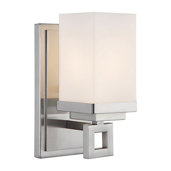 Nelio 1-Light Bath Vanity in Pewter with Cased Opal Glass