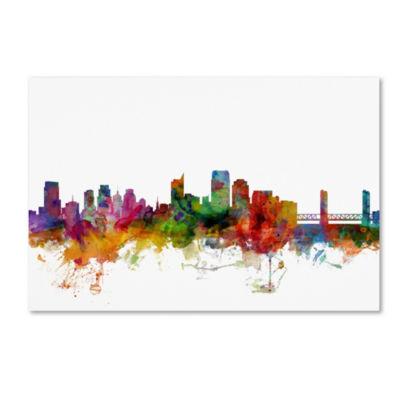 Trademark Fine Art Michael Tompsett Sacramento California Skyline Giclee Canvas Art