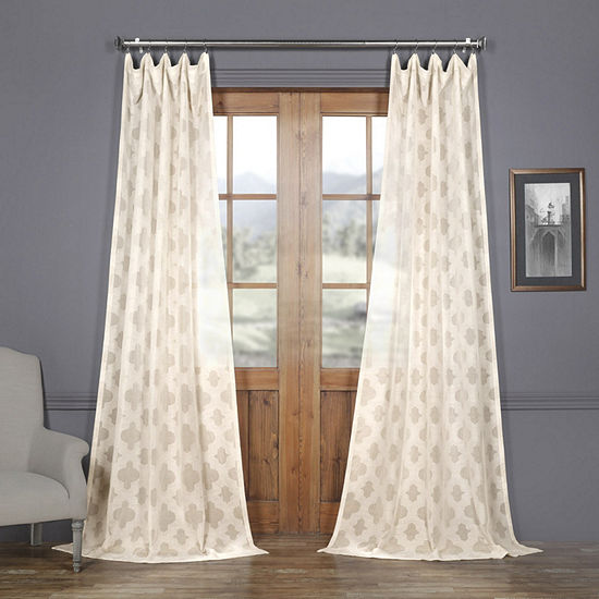 Exclusive Fabrics Furnishing Calais Tile Faux Linen Sheer Rod Pocket Curtain Panel
