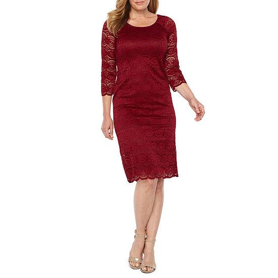 Liz Claiborne 3/4 Sleeve Medallion Lace Sheath Dress