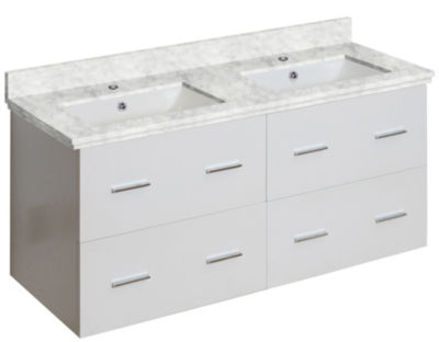 47.5-in. W Wall Mount White Vanity Set For 1 HoleDrilling Bianca Carara Top White UM Sink