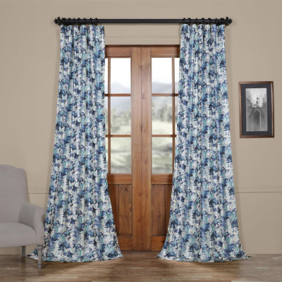 Exclusive Fabrics & Furnishing Watercolor Faux Silk Taffeta Rod-Pocket/Back-Tab Blackout Curtain Panel