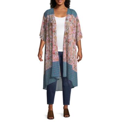 Self Esteem 3/4 Sleeve Kimono-Juniors Plus