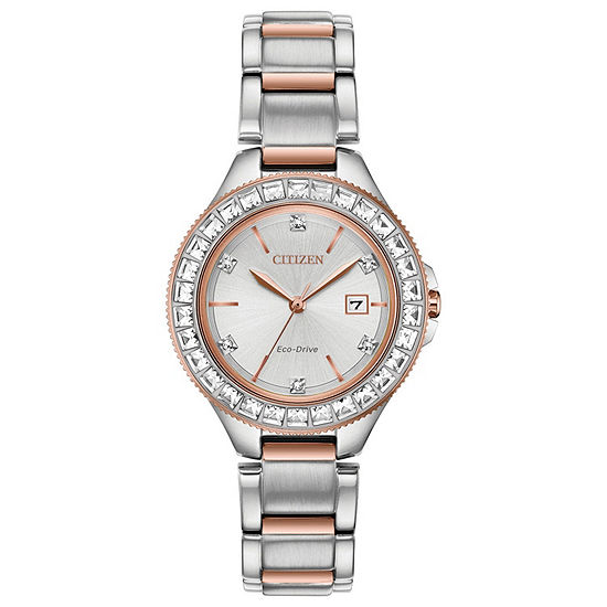 Citizen Silhouette Crystal Womens Two Tone Stainless Steel Bracelet Watch - Fe1196-57a