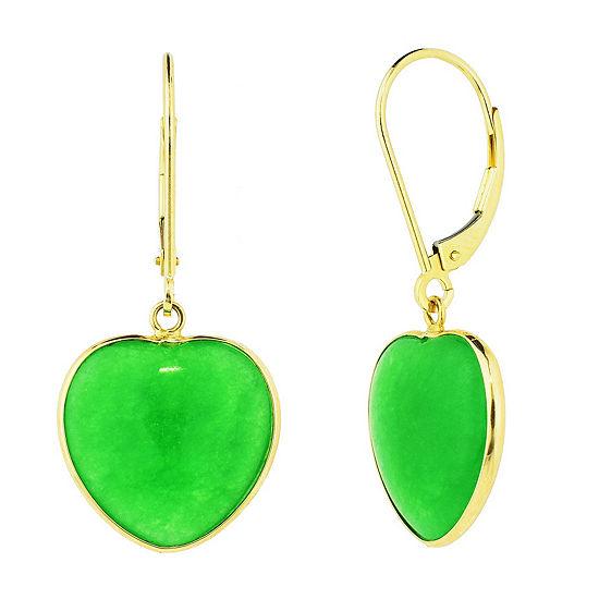 Genuine Green Jade 14K Gold Heart Drop Earrings