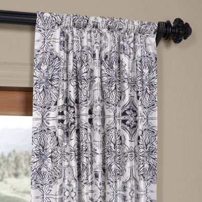 Exclusive Fabrics & Furnishing Delft Blue Faux Silk Taffeta Blackout Rod-Pocket/Back-Tab Curtain Panel