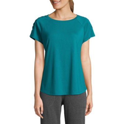 St. John's Bay Active Short Sleeve Round Neck Floral T-Shirt-Womens