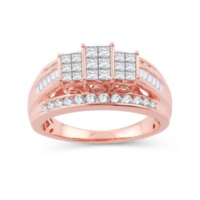Womens 1 CT. T.W. Genuine White Diamond 10K Rose Gold Engagement Ring