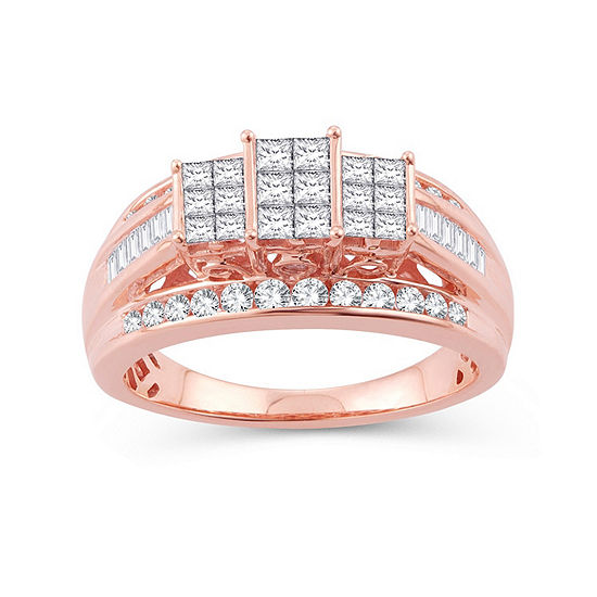 Womens 1 CT. T.W. Genuine White Diamond 10K Rose Gold Engagement Ring