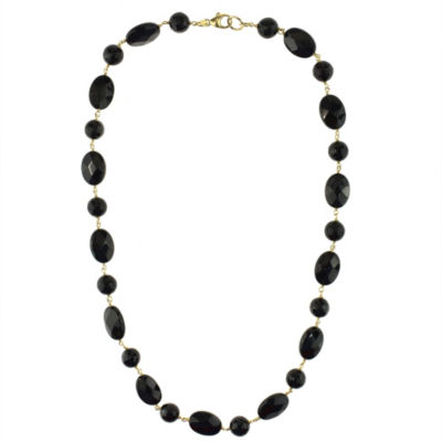 Womens Genuine Black Onyx 14K Gold Beaded Necklace
