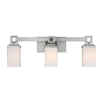 Nelio 3-Light Bath Vanity in Pewter with Cased Opal Glass