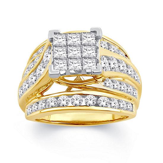 Womens 3 CT. T.W. Genuine White Diamond 10K Gold Engagement Ring