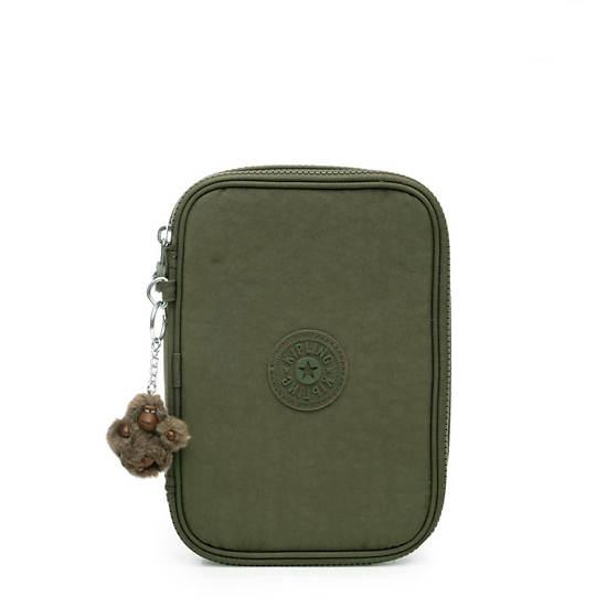 100 Pens Case,Jaded Green Tonal Zipper,large