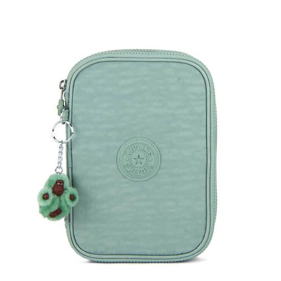 100 Pens Case,Fern Green Tonal Zipper,large