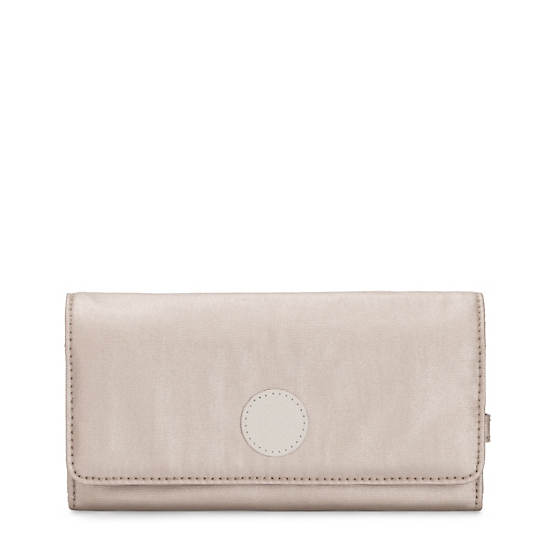 New Teddi Metallic Snap Wallet,Metallic Glow,large