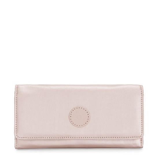 New Teddi Metallic Snap Wallet,Metallic Rose,large