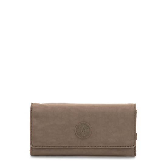 New Teddi Snap Wallet,Soft Earthy Beige Tonal Zipper,large