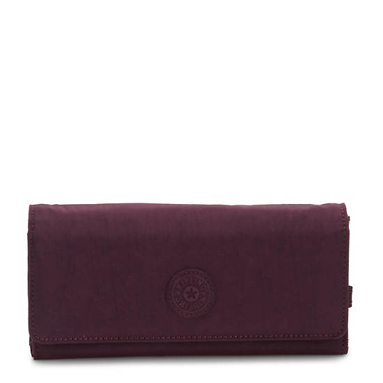 New Teddi Snap Wallet,Dark Plum,large