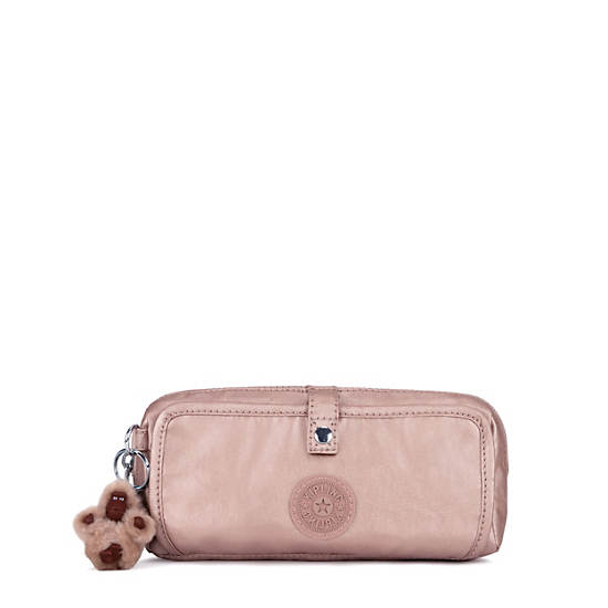 Wolfe Metallic Pencil Pouch,Rose Gold Metallic,large