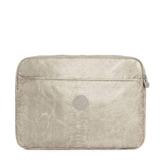 "15"" Metallic Laptop Sleeve,Silver Beige Snake,large"
