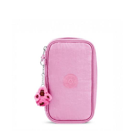 50 Pens Metallic Pencil Case,Prom Pink Metallic,large