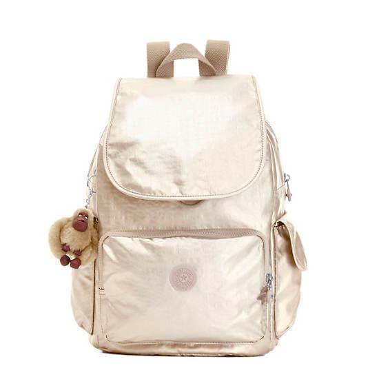 Ravier Medium Metallic Backpack,Sparkly Gold,large