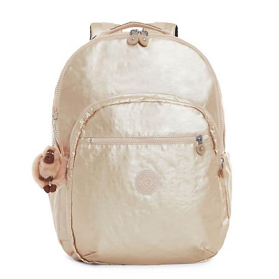 Seoul Extra Large Metallic Laptop Backpack,Sparkly Gold,large