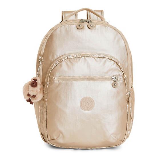 Seoul Large Metallic Laptop Backpack,Sparkly Gold,large