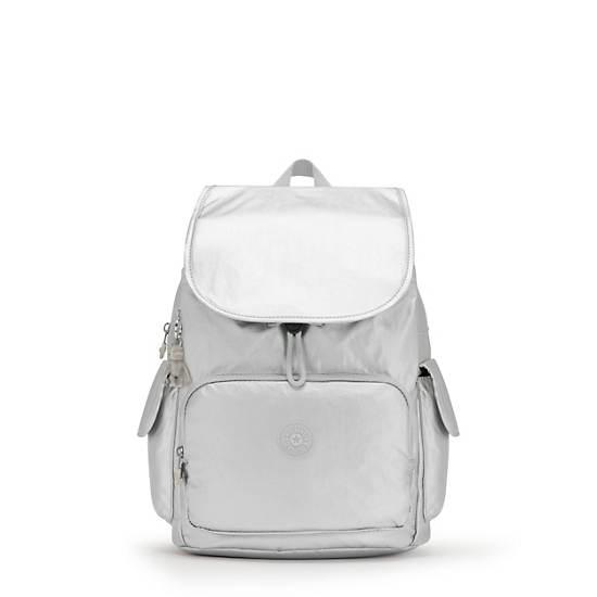 City Pack Medium Metallic Backpack, Bright Silver, large