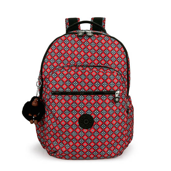 "Seoul Go Large Printed Laptop 15"" Backpack,Mystical Medallion Orange,large"
