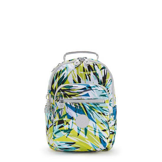 Seoul Small Printed Tablet Backpack, Bright Palm, large